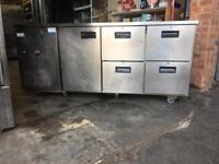 Commercial bench fridge 4 drawer 1singke door with work top space available