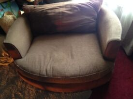 Comfy Brown Faux Leather Loveseat Armchair