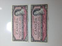 Two sequential one thousand ($1000.00) dollar bills