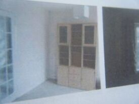 LARGE LIGHT BEECH DISPLAY CABINET/WALL UNIT /SHELVING