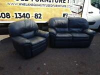 2 seater sofa in a dark blue leather Hyde all reclining £85
