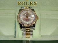 Rolex date just bi metal diamond bezel