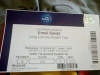 2 Emeli sande tickets at the 02 arena london wedneaday 18th october