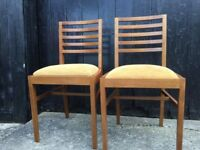 Light wood pair of retro chairs HJ berry label