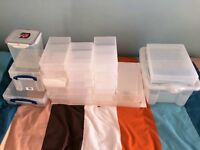Job lot of 26 plastic assorted sized storage boxes for craft