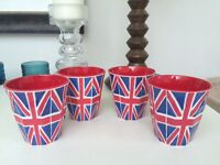 Emma Bridgewater - 4 x Union Jack Melamine (plastic) cups - brand new, never been used