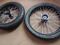 "Road Legal Pit Bike Big Wheels Tyres New 17 "" + 14 "" Dunlop 15mm axel crf50 stomp crf 70 pitbike 125"