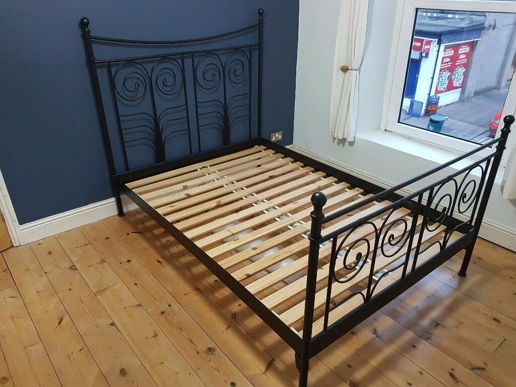 Ikea Norseund Double Bed Frame in Black