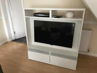 White tv display cabinet stand