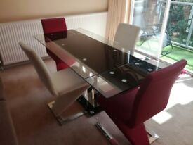 Glass Dining Table (extendable) & 4 Z Chairs
