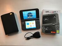 Nintendo 3DS XL (latest version), plus Sky3DS+, 64GB microSD, case and PowerSaves