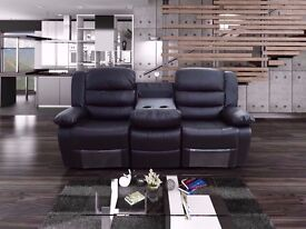 Regal 3&2 Luxury Leather Recliner Sofa In Bonded Leather With Pull Down Drink Holder