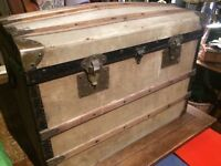 TRUNK CHEST LUGGAGE FRENCH STEAMER TRAVEL 1920S ORIGINAL SUITCASE STORAGE