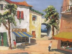 """Oil on board painting entitled """"Riviera Scene"""" by Margot signed"""