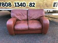 2 seater sofa in a tan leather Hyde £109