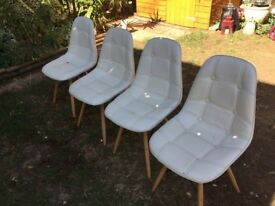 Charles Jacobs Quilted Button Style Chairs With Solid Wood Legs