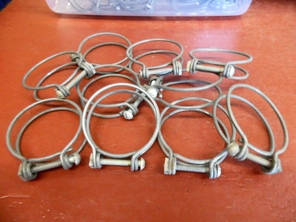 "NOS DOUBLE WIRE 2 1/8"" HOSE CLAMP LOT OF (10)"