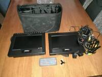Acoustic solution's twin screen in car portable dvd player