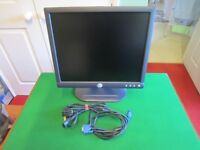 """Dell 17"""" Flat Screen Computer Monitor with Cables"""