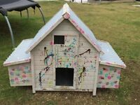 Chicken Coop with Run and Heat Lamp for rearing chicks and extra hutch