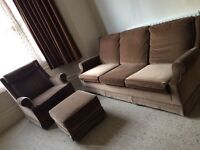 60/70s PARKER KNOLL SOFA, 2 ARM CHAIRS, STOOL, ON CASTERS, EXCELLENT CONDITION