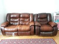 2 Seater recliner sofa and rocking armchair