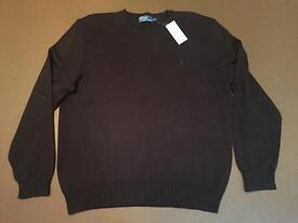 Men's Ralph Lauren dark brown round neck jumper. BNWT