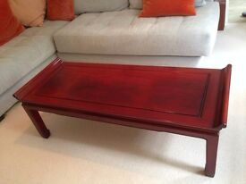 2 Rosewood Coffee tables. Cost over £700. Perfect condition with glass covers.