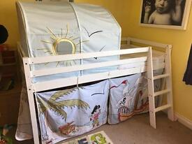 Mid sleeper with tunnel and curtains single bed