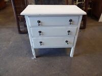 Vintage Chest of Drawers painted white shabby chic upcycle