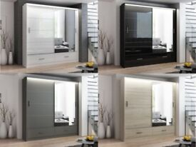 🌺🌺GET YOUR ORDER NOW🌺 Brand New Marsylia 2 & 3 Door Sliding Wardrobe Black and White with LED