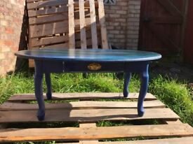 Stunning Shabby Chic funky hand painted vintage coffee table!