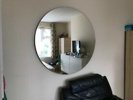 Large, heavy beautiful round mirror. 44 inch diameter.