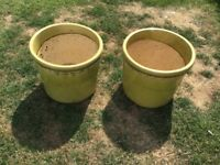 2 large used green garden pots £10 please collect
