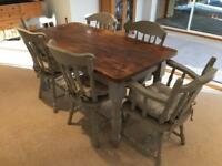 French grey and oak dining table with chairs