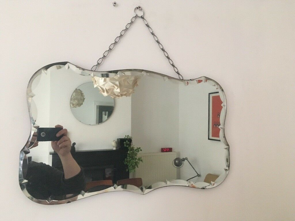 Vintage 1930s Art Deco Unusual Cut Bevelled Edge Wall Mirror