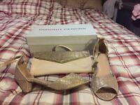 Size 4 champagne heels and matching clutch bag