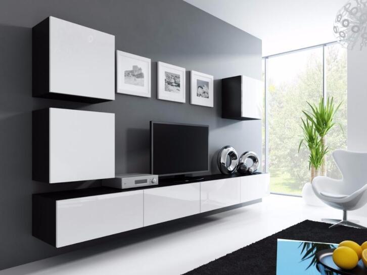 Compleet zwevend tv wandmeubel hoogglans zwart of wit nu 479
