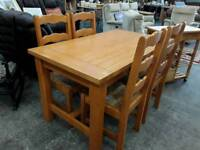 Hardwood Dining Table. 4 Wicker Seat Chairs