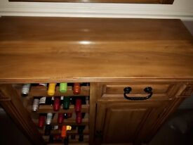 Antique pine look sideboard/wine rack/ console table/storage unit