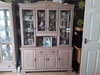 Set of 3 limed oak display cabinets