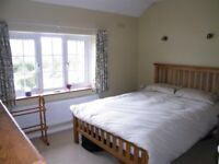 Oak double bed and mattress