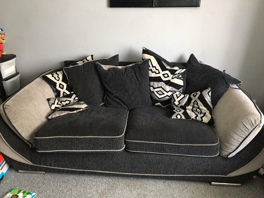 Amazing 2 Black Grey Large Sofas In Stockton On Tees County Durham Gumtree Caraccident5 Cool Chair Designs And Ideas Caraccident5Info