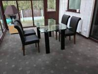 Glass Dining Table + 4 Brown Leather Chairs