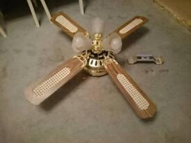Working Ceiling Light Fan (wooden blades)