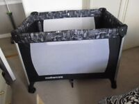 MOTHERCARE DELUXE TRAVEL COT WITH AIRFLOW MATTRESS AS NEW