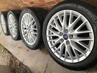 """As New 17"""" Genuine Ford Transit Connect alloy wheels +tyres Focus Mondeo 5x108 CAN POST"""