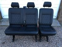 VW Transporter Kombi (Combi) 2 + 1 rear seats. Bentley Cross Stitch black leather. Bracket and Belts