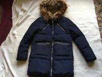New look ladies puffy coat navy hoody full zipper size 8 used one times only £10