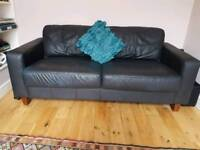 Retro style black leather sofa
